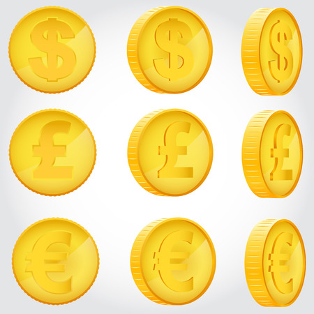 euro coins: Coin of euro, pound sterling in different angles  gold
