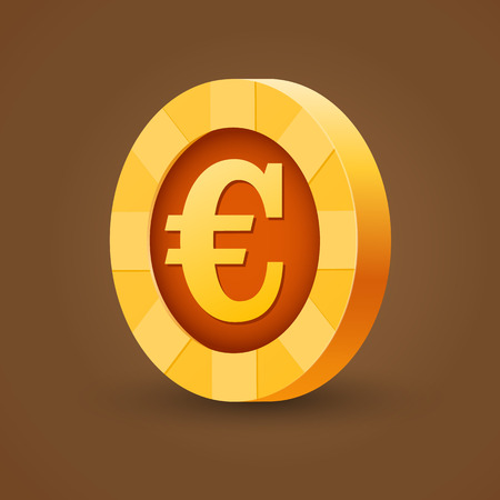 gold coin: Isolated gold coin of euro. Vector illustration Illustration