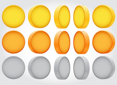 Vector coin rotation. gold copper silver. Money concept Illustration