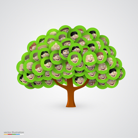 apoyo social: Árbol de las caras de la familia feliz y sonriente. Ilustración vectorial
