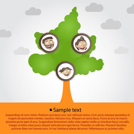 arbol geneal�gico: �rbol geneal�gico con caras familiares de dibujos animados. Ilustraci�n vectorial