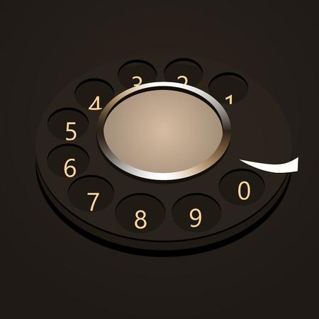 bakelite: telephone numbers, abstract disk against dark background.