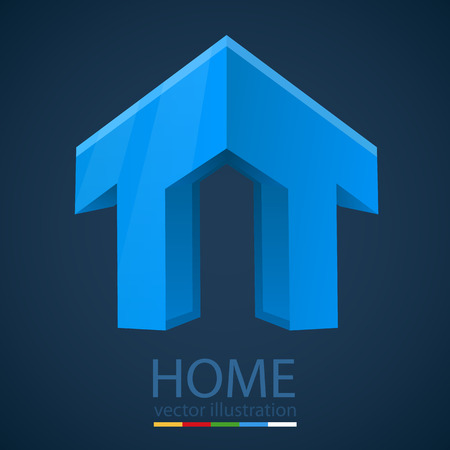 Abstract 3D Graphics with Home Shape. Vector illustration Vector