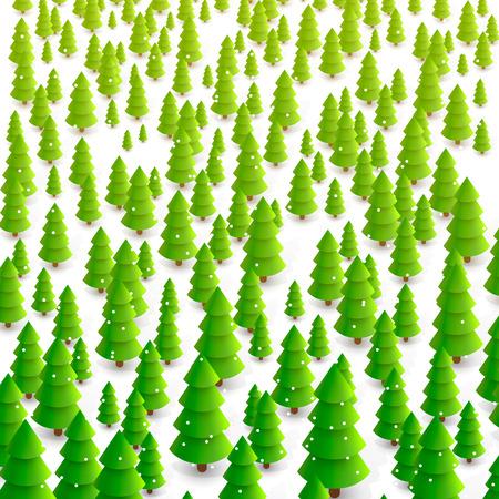 conifer: Forest of trees background art. Vector illustration