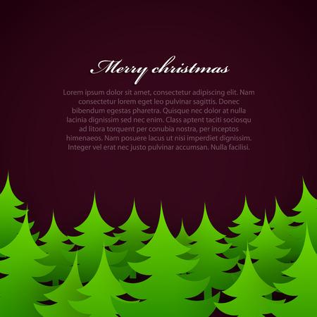 Bright christmas tree forest on dark background. Illustration