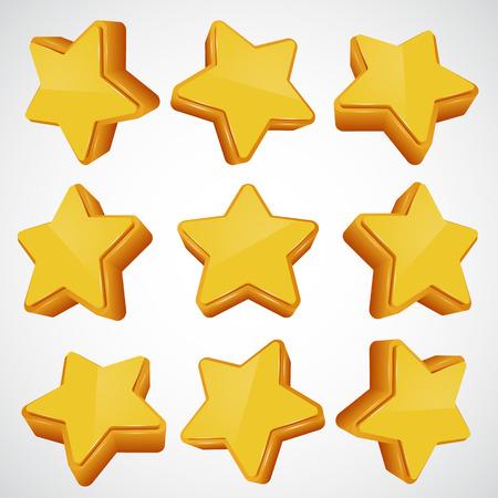 estrellas: Estrella de oro en diferentes �ngulos. Ilustraci�n vectorial