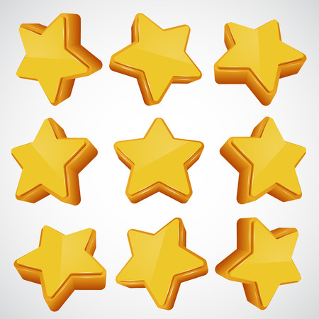 five stars: Golden star in different angles. Vector illustration