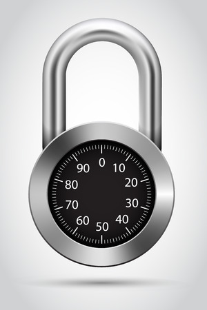 dial pad: Vector combination padlock on white background. Vector illustration.
