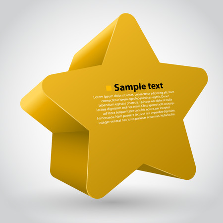 variant: 3d vector star with text. Yellow variant