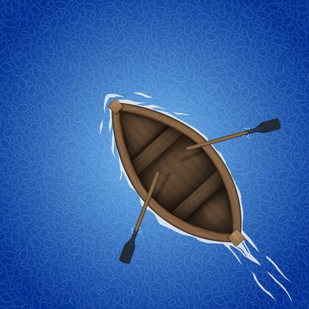 barque: Rowing boat background art banner. Vector illustration Illustration