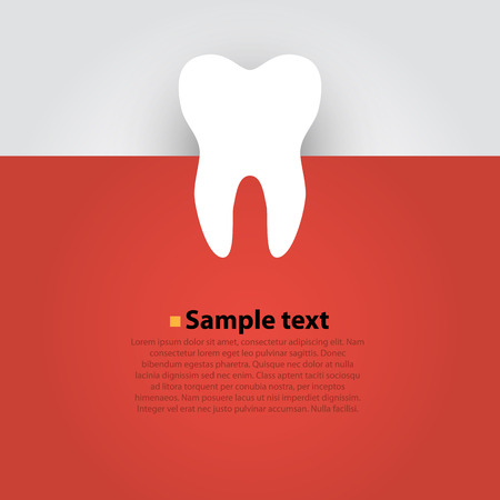 smile  teeth: Sticker paper Tooth On Red Background. Vector Illustration
