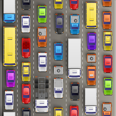 Traffic jam on the road. Vector background Vettoriali