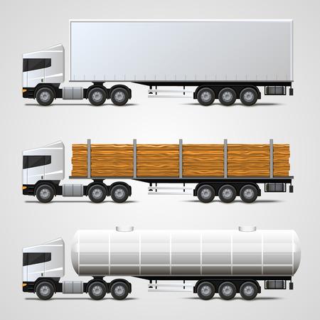camion: El tr�fico de carga set signo arte. Ilustraci�n vectorial
