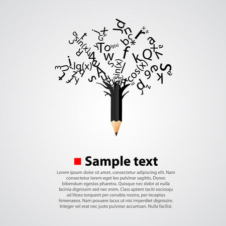 college education: Abstract tree with black letters isolated on white background.