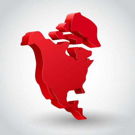 mexico map: 3d vector red north america continent illustration