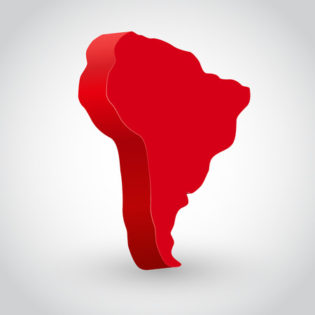 red america: Vector illustration of south america continent. Clean and bright.