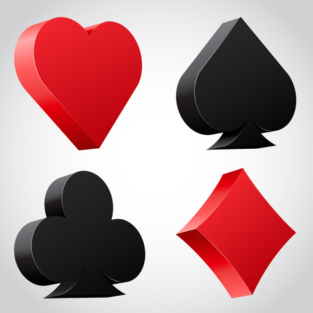 card game: Set of 3d card suit icons in black and red. vector illustration Illustration