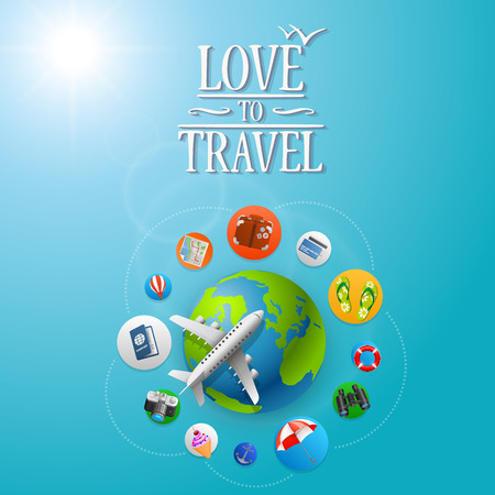 view icon: Planet Travel icons art banner. Vector illustration