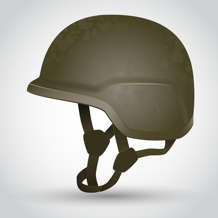 Camouflage Army helmet with scratches. Vector illustration