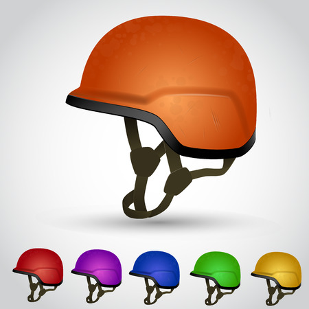 head wear: Camouflage Army helmet with scratches. Vector illustration