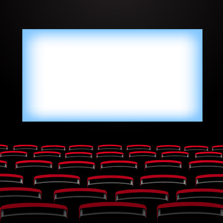 cinema screen: Cinema auditorium with screen and seats. Vector illustration