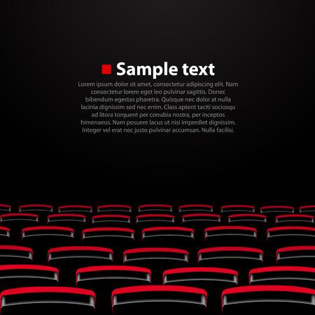 Vector auditorio del cine con asientos. Ilustración vectorial