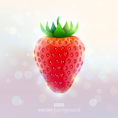 Fresh realistic strawberry on absract light background. Vector illustration Vector