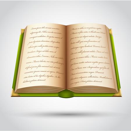 Open oud boek in groene dekking. Vector illustratie