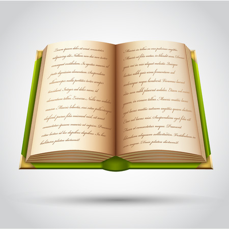 Open old book in green cover. Vector illustration