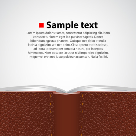 open diary: Open leather book in green cover. Vector background Illustration