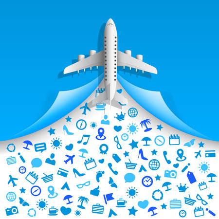 passenger airline: Travel icons services art . Vector illustration