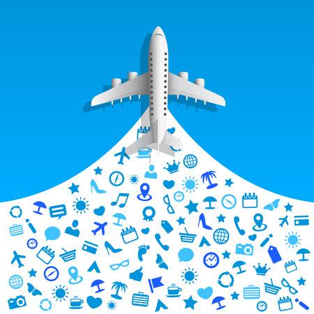 palm pilot: Travel icons services art . Vector illustration