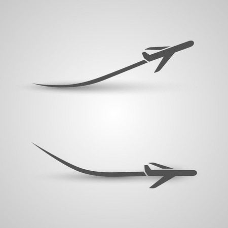 takeoff: Plane takeoff and landing art. Vector illustration