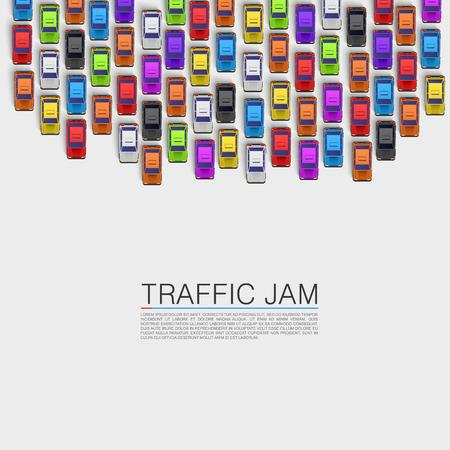 Embouteillage sur la route. Vecteur de fond