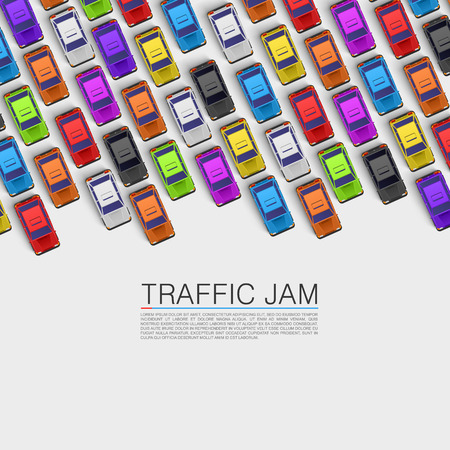 Traffic jam on the road. Vector background Çizim