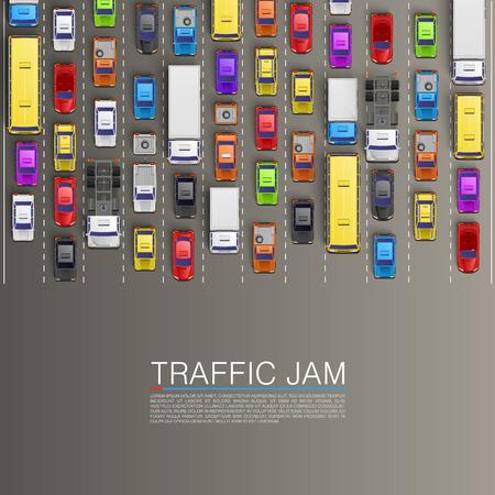 medios de transporte: mermelada raffic en la carretera. Vector de fondo Vectores