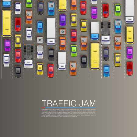 cars parking: raffic jam on the road. Vector background
