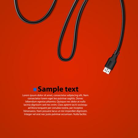 USB-kabel geïsoleerd achtergrond. Vector illustratie