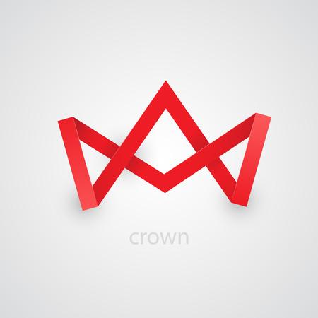 royal crown: Resumen corona de papel rojo sobre fondo blanco. Ilustraci�n vectorial