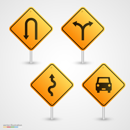 slippery sign: Set road sign art direction. Vector illustration