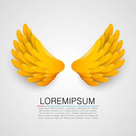 flying eagle: Golden wings on white background. Vector illustration