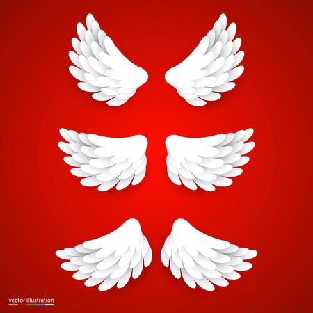 ali angelo: Artificial ali di carta bianchi fissati. Illustrazione vettoriale