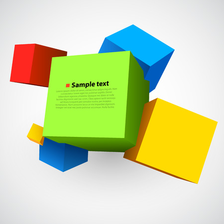 building structure: Colorful three dimensions cubes on white. Vector illustration