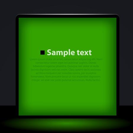 backlit: Green light box illustration. Clean vector illustration