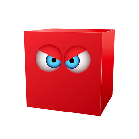 red cube: Three-dimensional red cube with eyes. Vector illustration Illustration