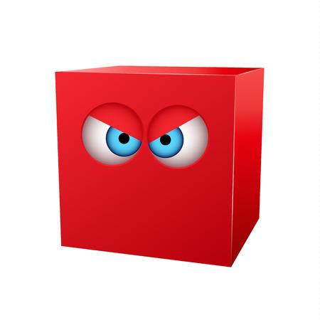 red cube: Tridimensionale cubo rosso con gli occhi. Illustrazione vettoriale Vettoriali