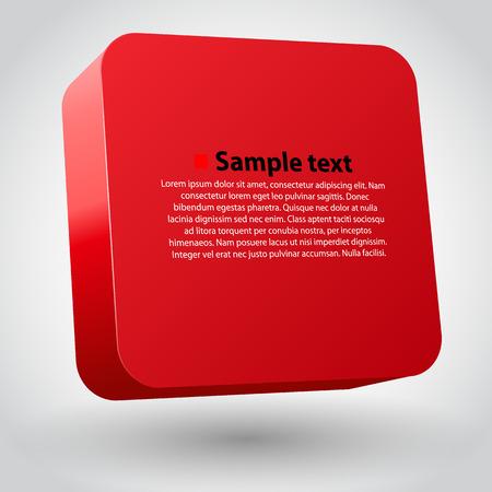 objetos cuadrados: Tridimensional cuadro rojo ob blanco. Limpiar la ilustraci�n vectorial