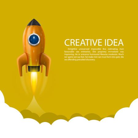 Space rocket launch art creative. Vector illustration