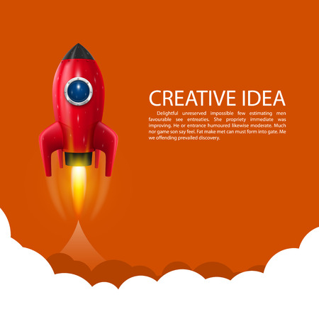 launch: Space rocket launch art creative. Vector illustration