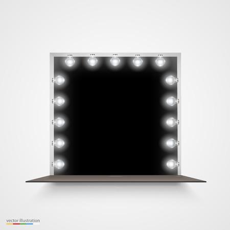 espejo: Ilustración del vector del espejo con bombillas para el maquillaje. Vectores